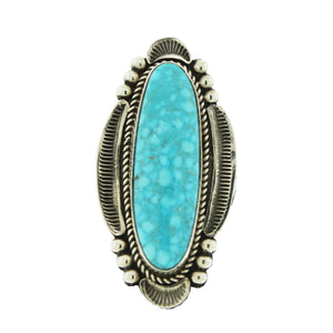 Sterling Silver Long Bird's Eye Turquoise Ring