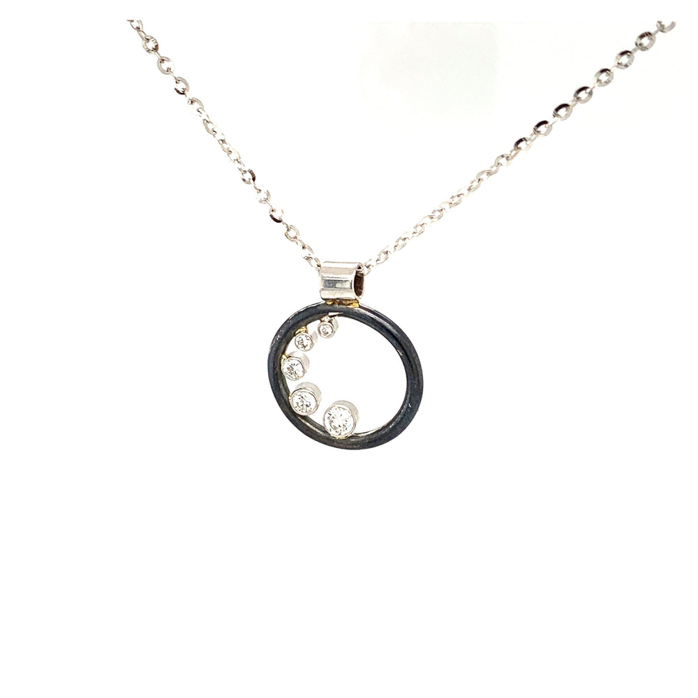 14k White Gold and Sterling Silver Diamond Pendant