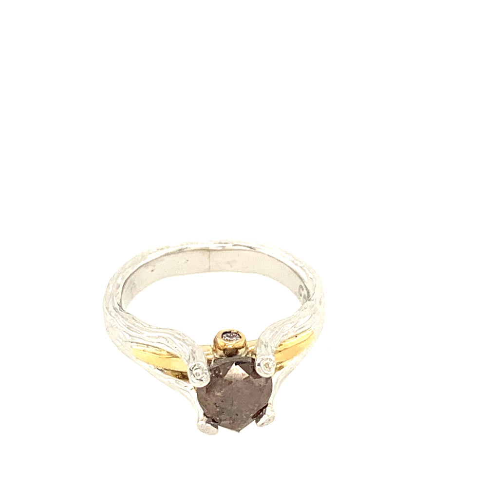 14k White and Yellow Gold Brown Diamond Ring