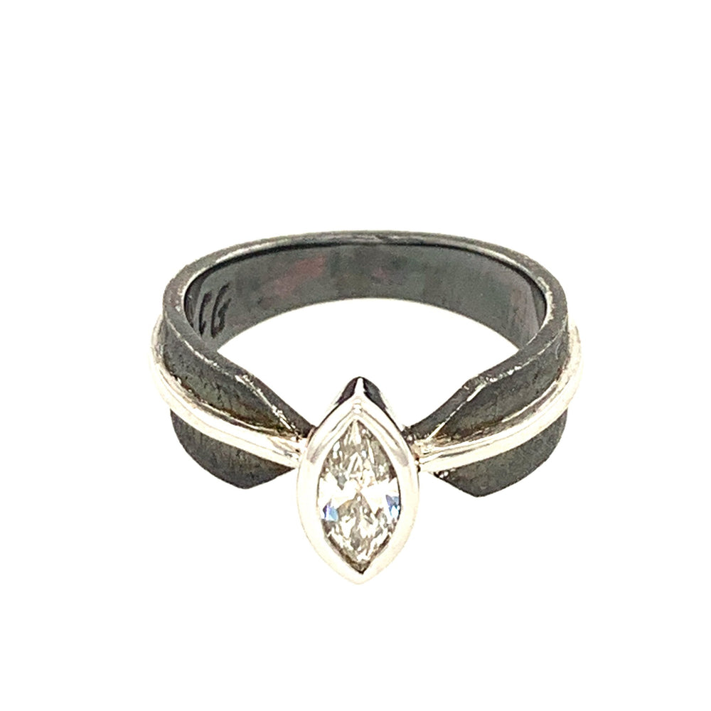 14k White Gold, Sterling Silver, and Diamond Ring