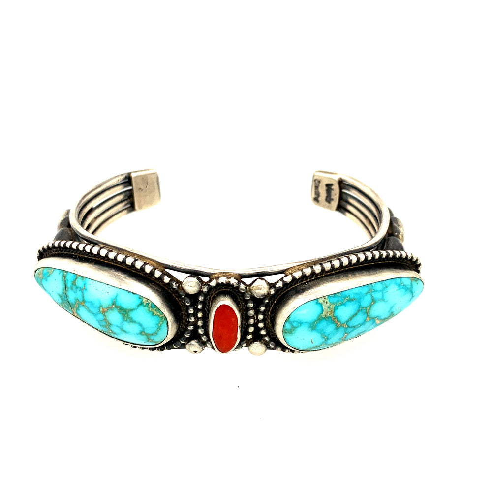 Carmelita Turquoise and Coral Cuff