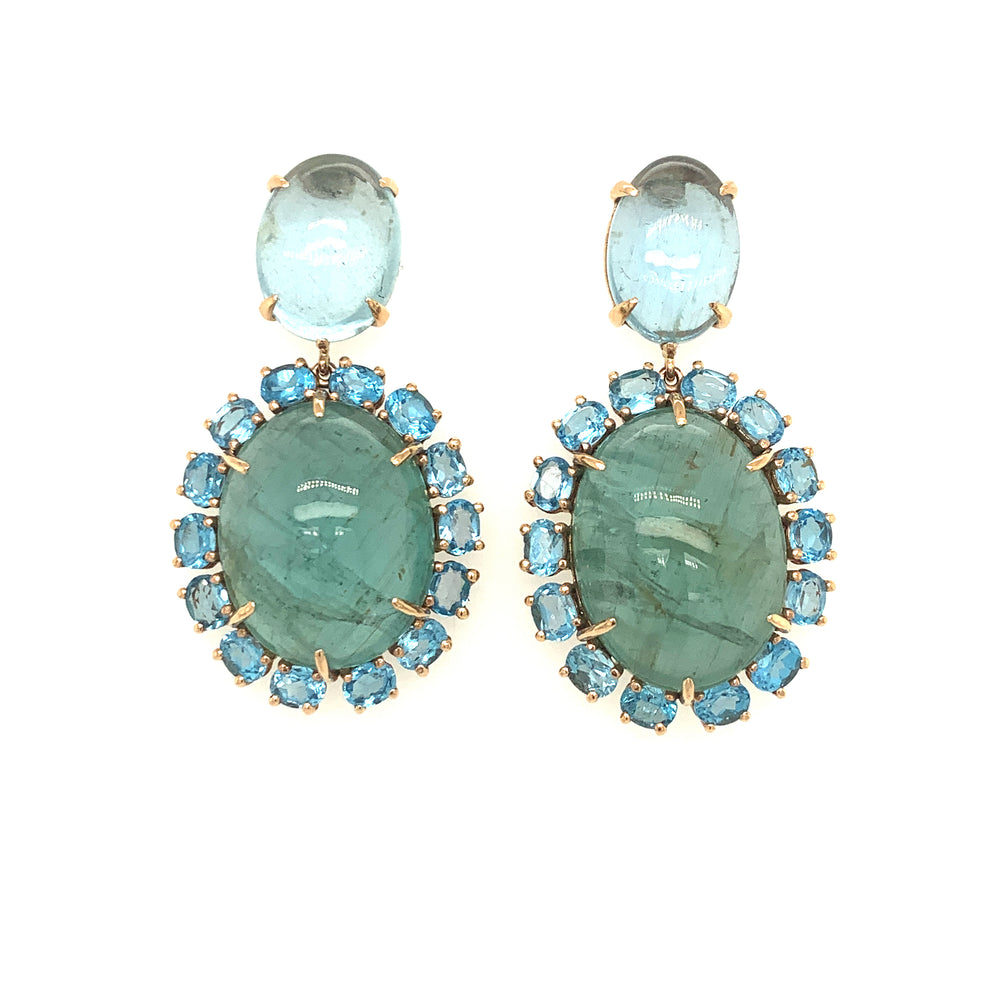 Aquamarine and green beryl Earrings