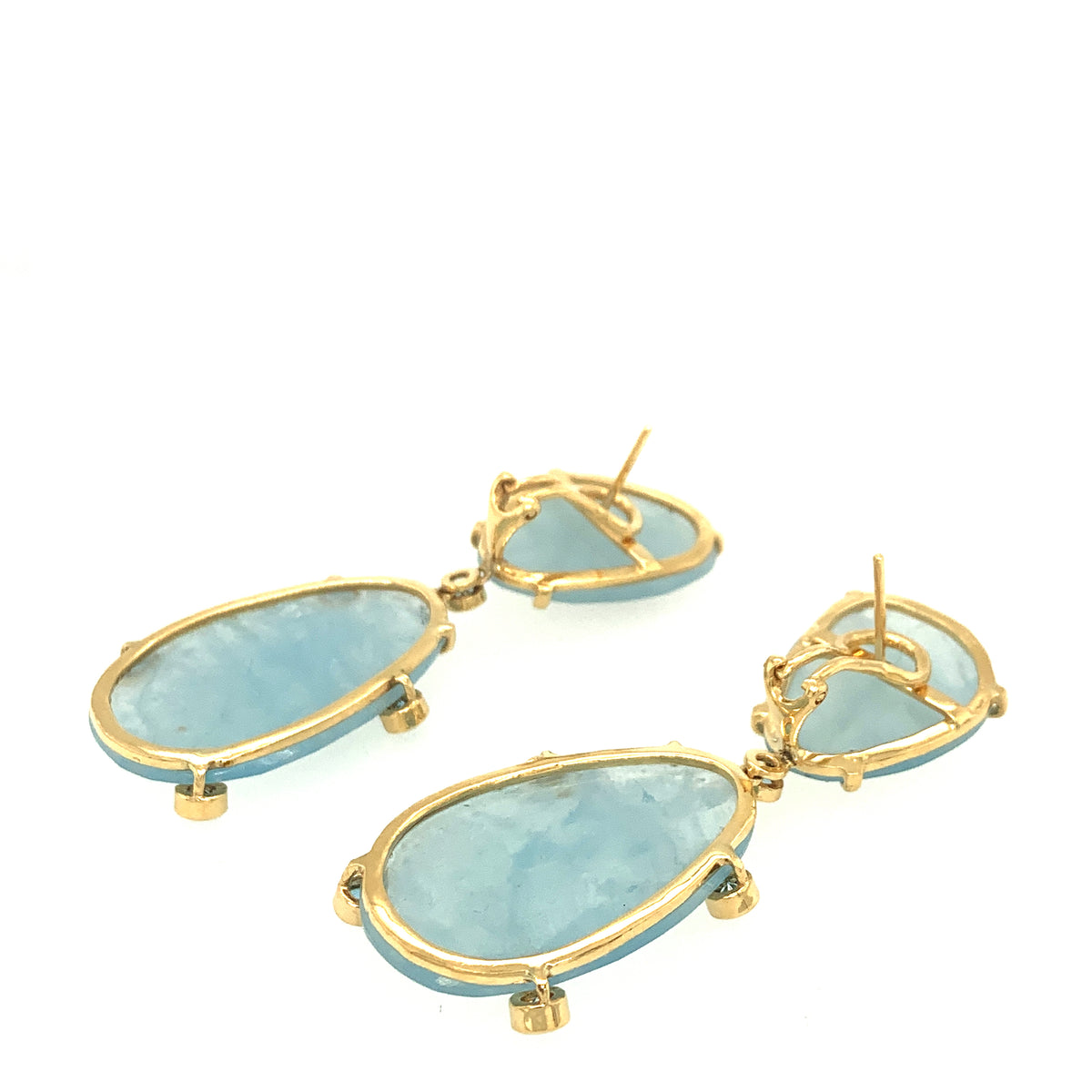 Aquamarine Slices with Blue Topaz Earrings