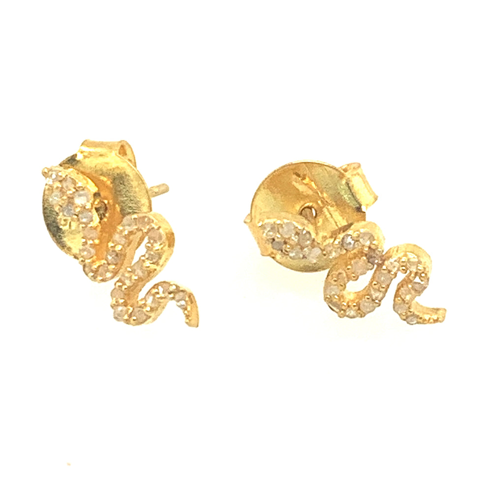 Gold Diamond Snake Studs