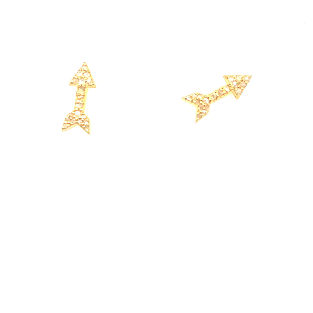 Gold Diamond Arrow Studs