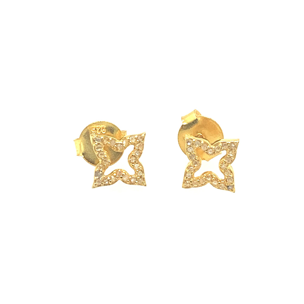 Gold Open Flower Studs