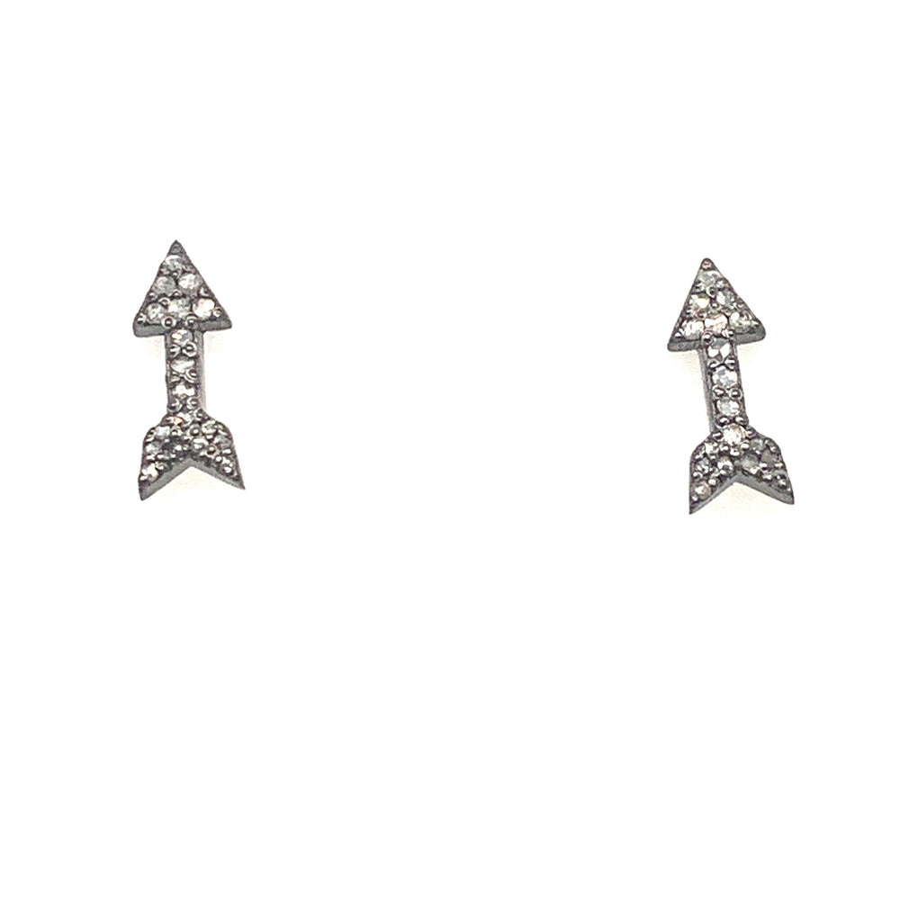 Oxidized Sterling Silver Arrow Studs