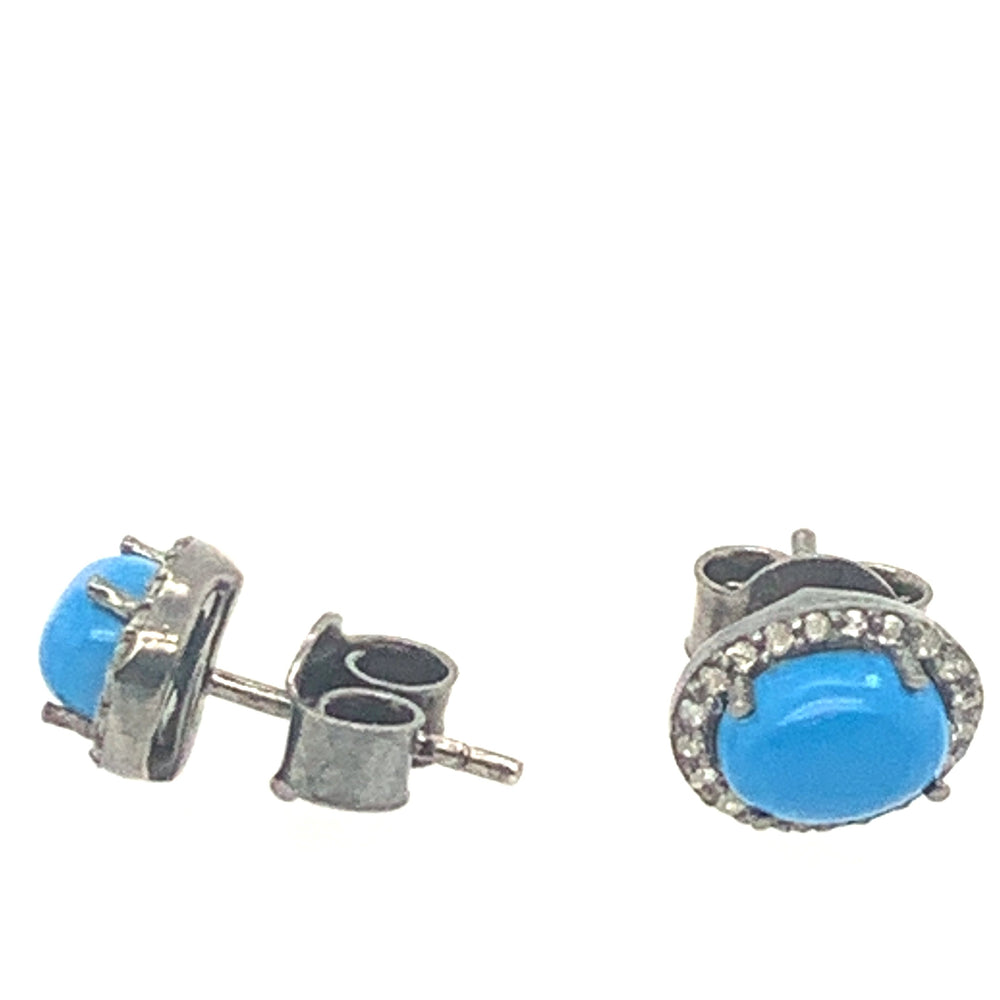 Oxidized Sterling Silver Turquoise Diamond Oval Studs