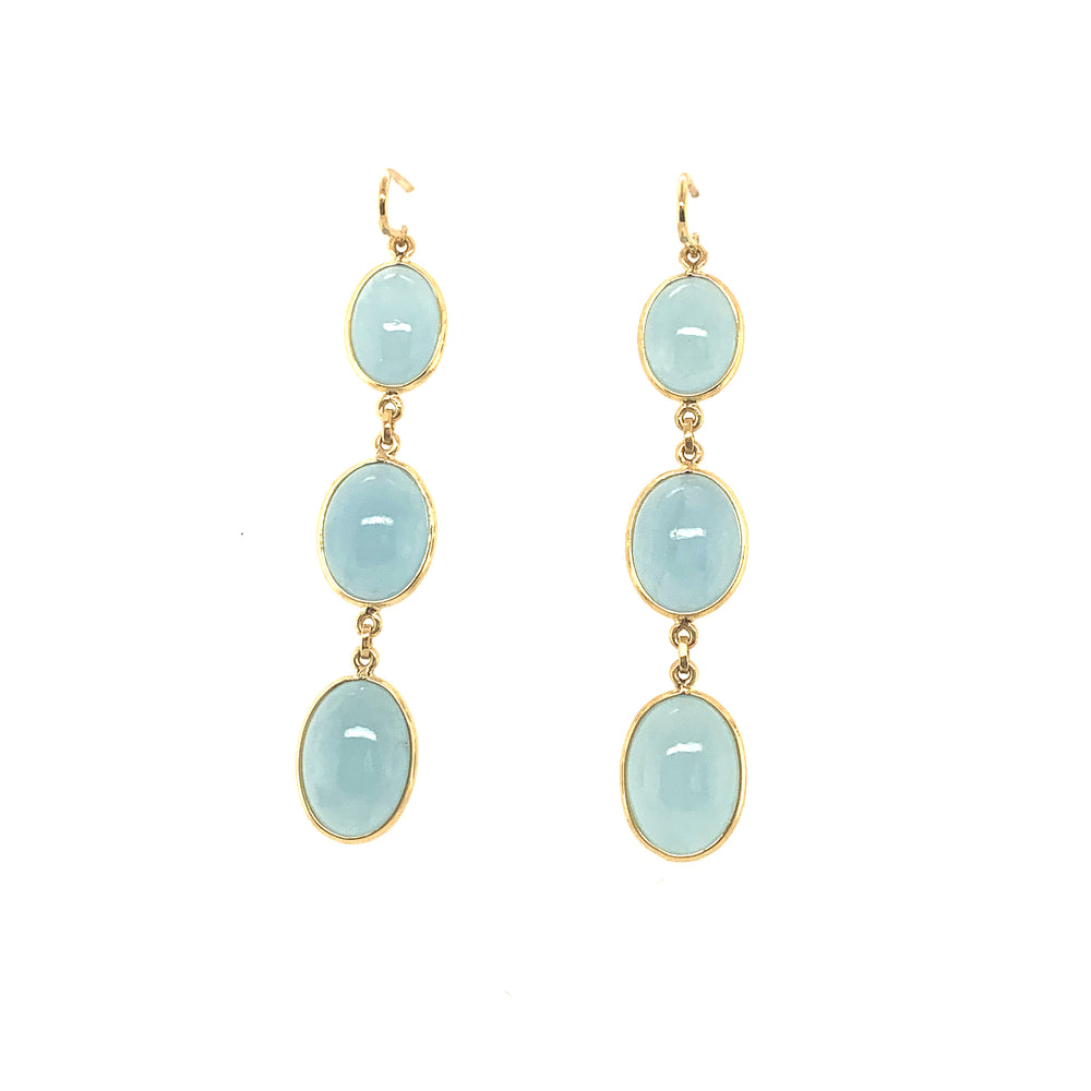 Aqua Oval Earrings