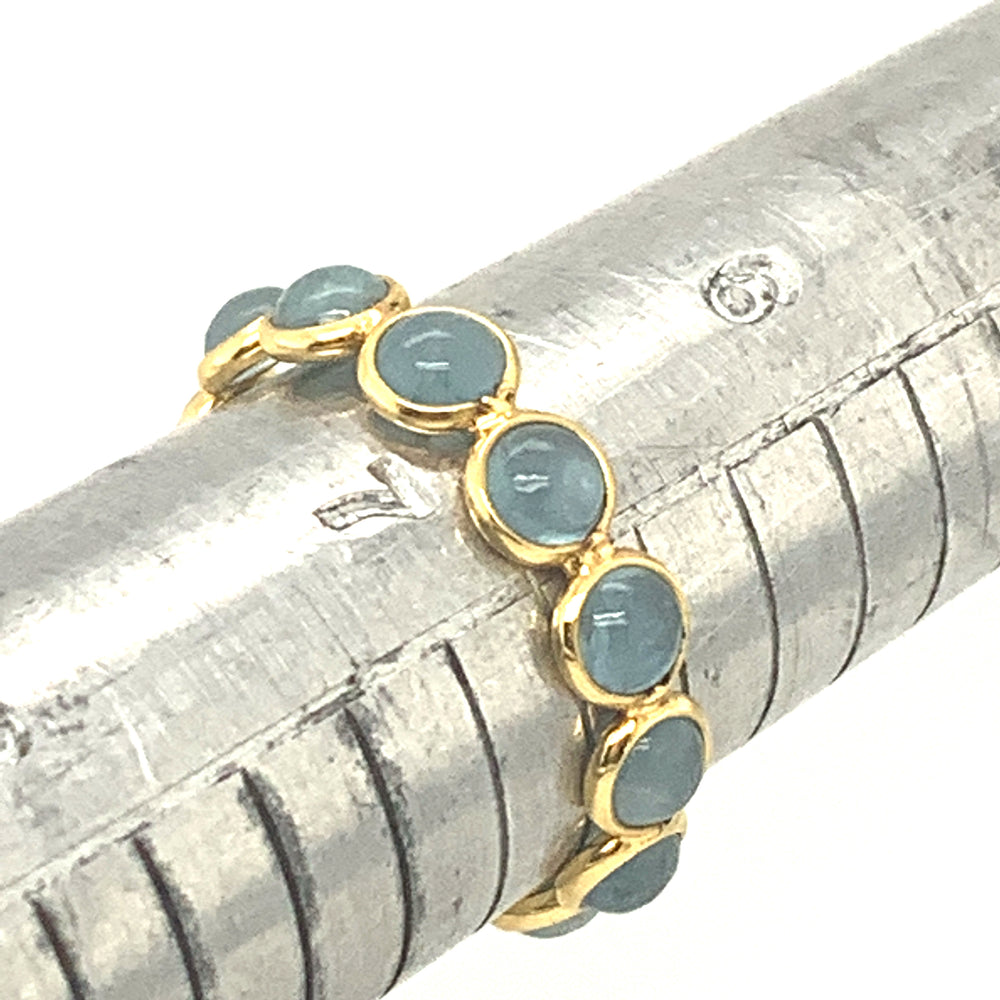 Aquamarine Stackable Round Cabachon Ring In 18k Yellow Gold