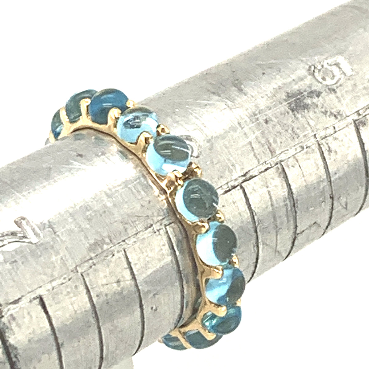 Blue Topaz Round Cabochon Eternity Ring