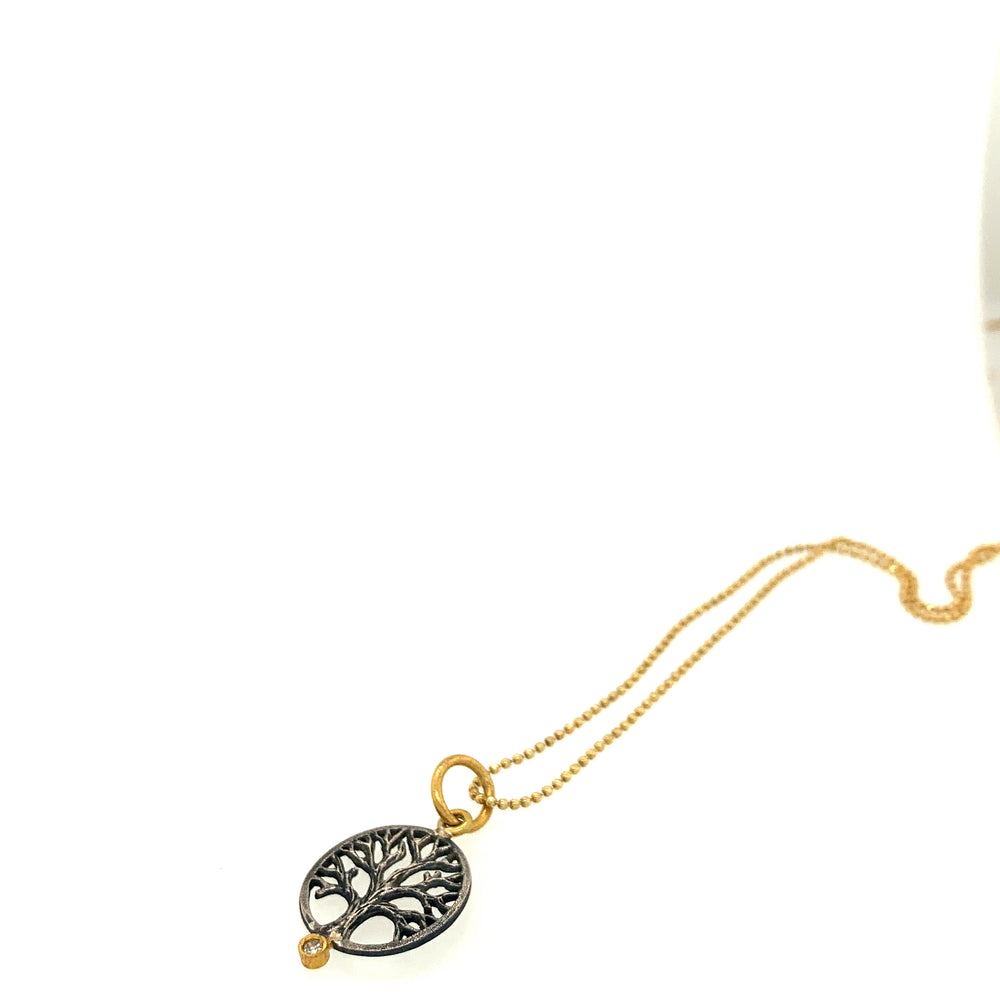 24k Gold and Sterling Silver Tree of Life Pendant and Chain