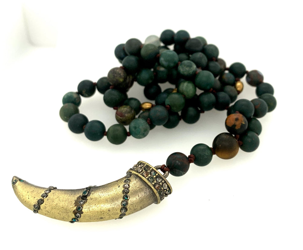 Handmade Long Beaded Necklace  - Green and Tiger's Eye