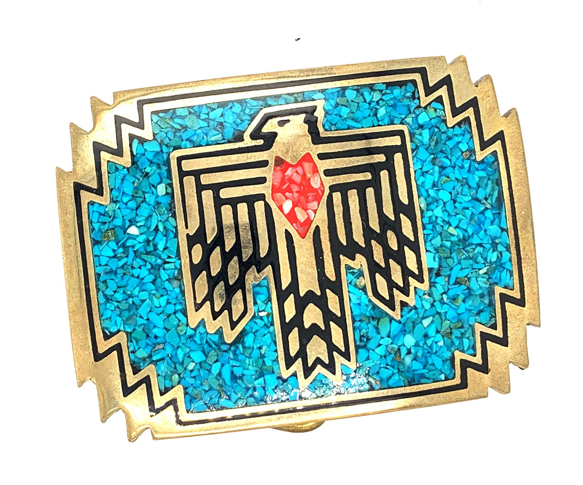 Thunderbird Brass Belt Buckle