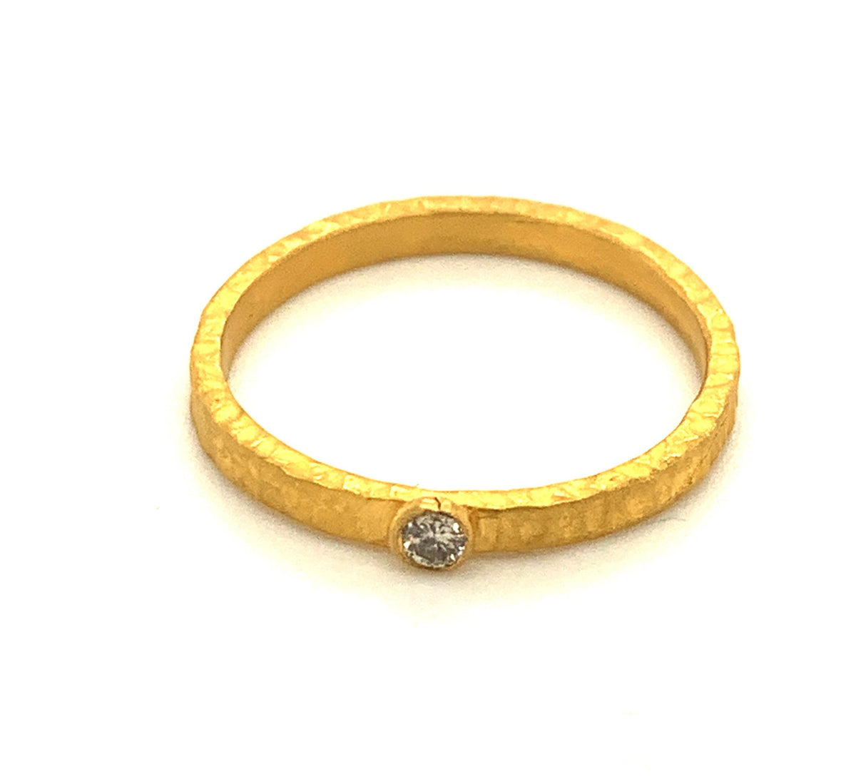 Hammered Flat Gold Ring with Diamond