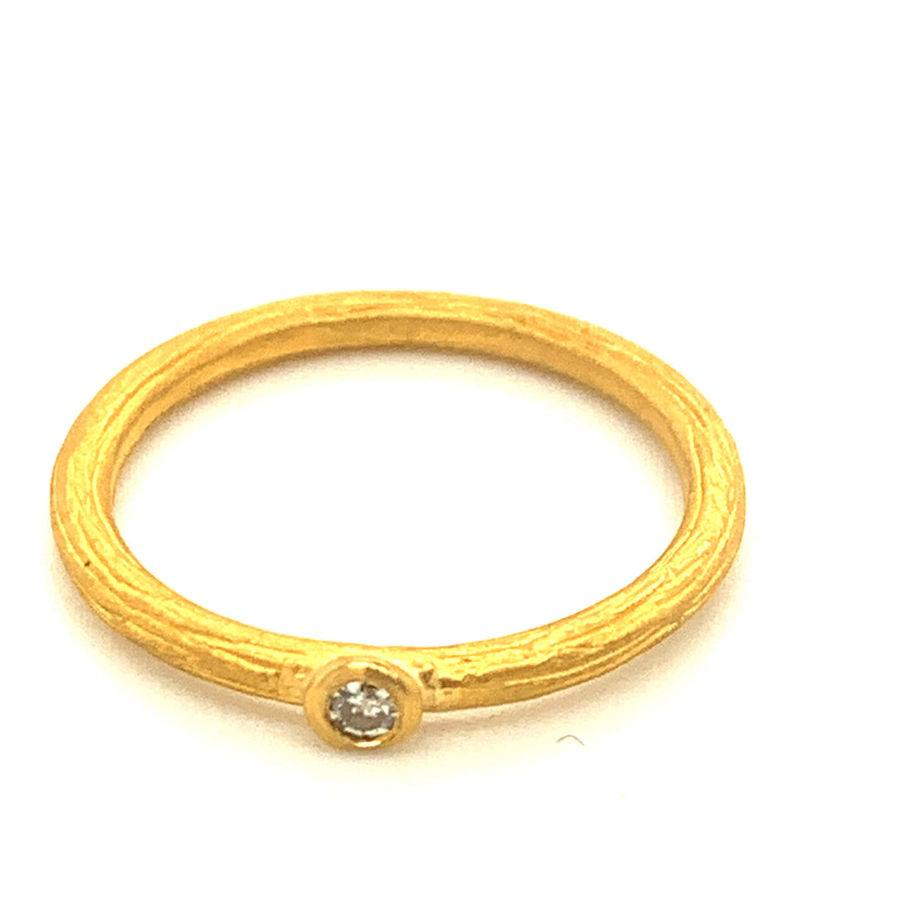 Textured Gold Ring with Diamond
