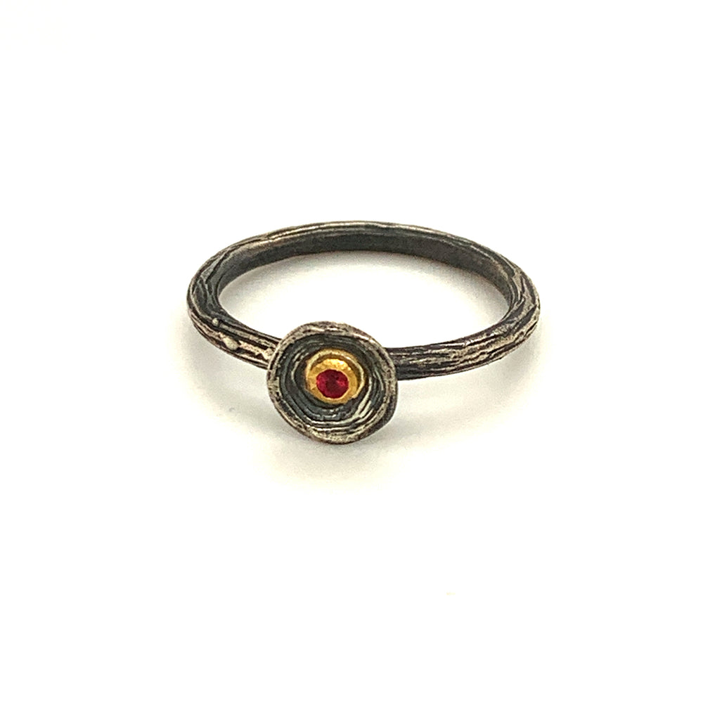 24k Gold Ring with Ruby and Sterling Silver Size 6.5