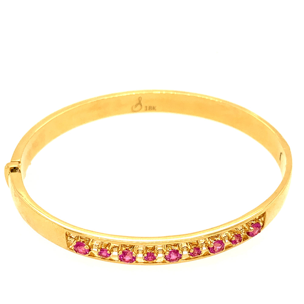 Otto Pink Sapphire Hinged Bangle