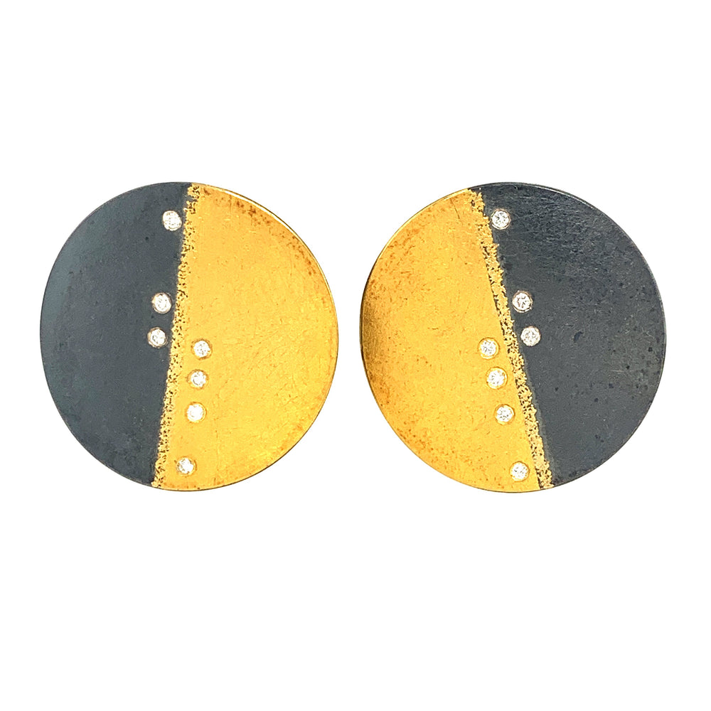Half & Half Disc Earrings with diamonds