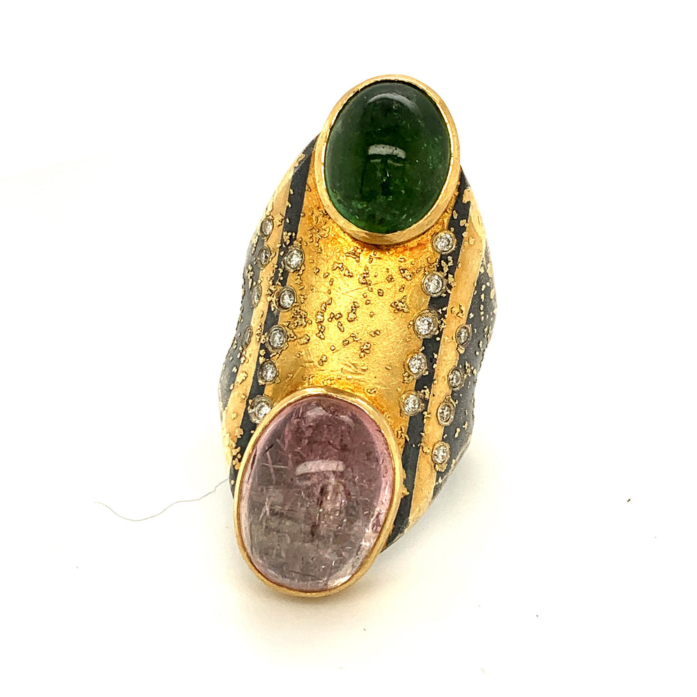 Double Tourmaline Ring with Diamonds