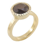 Large Black Diamond Gold Ring