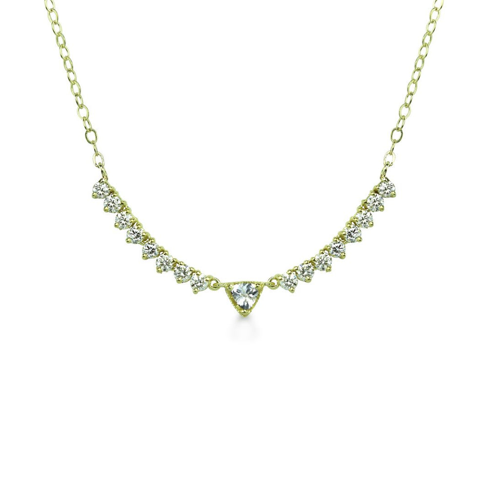White Sapphire Trillion and Diamond Necklace
