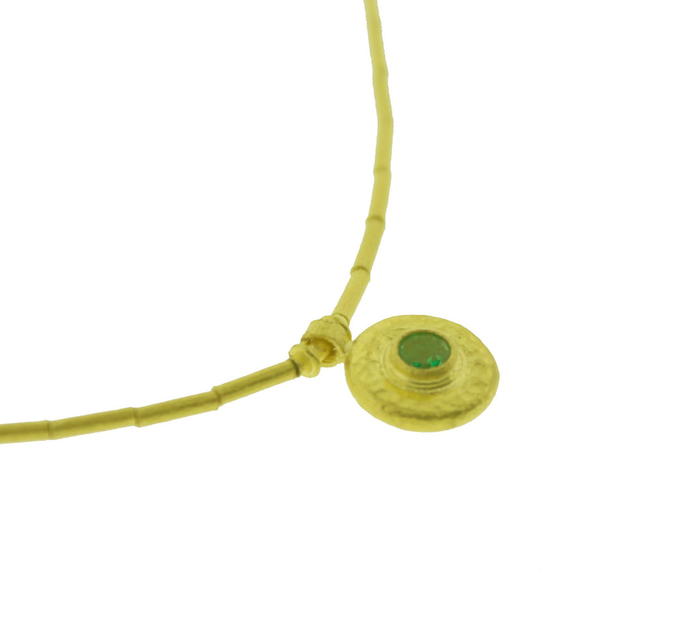 24K Gold Emerald Drop Necklace