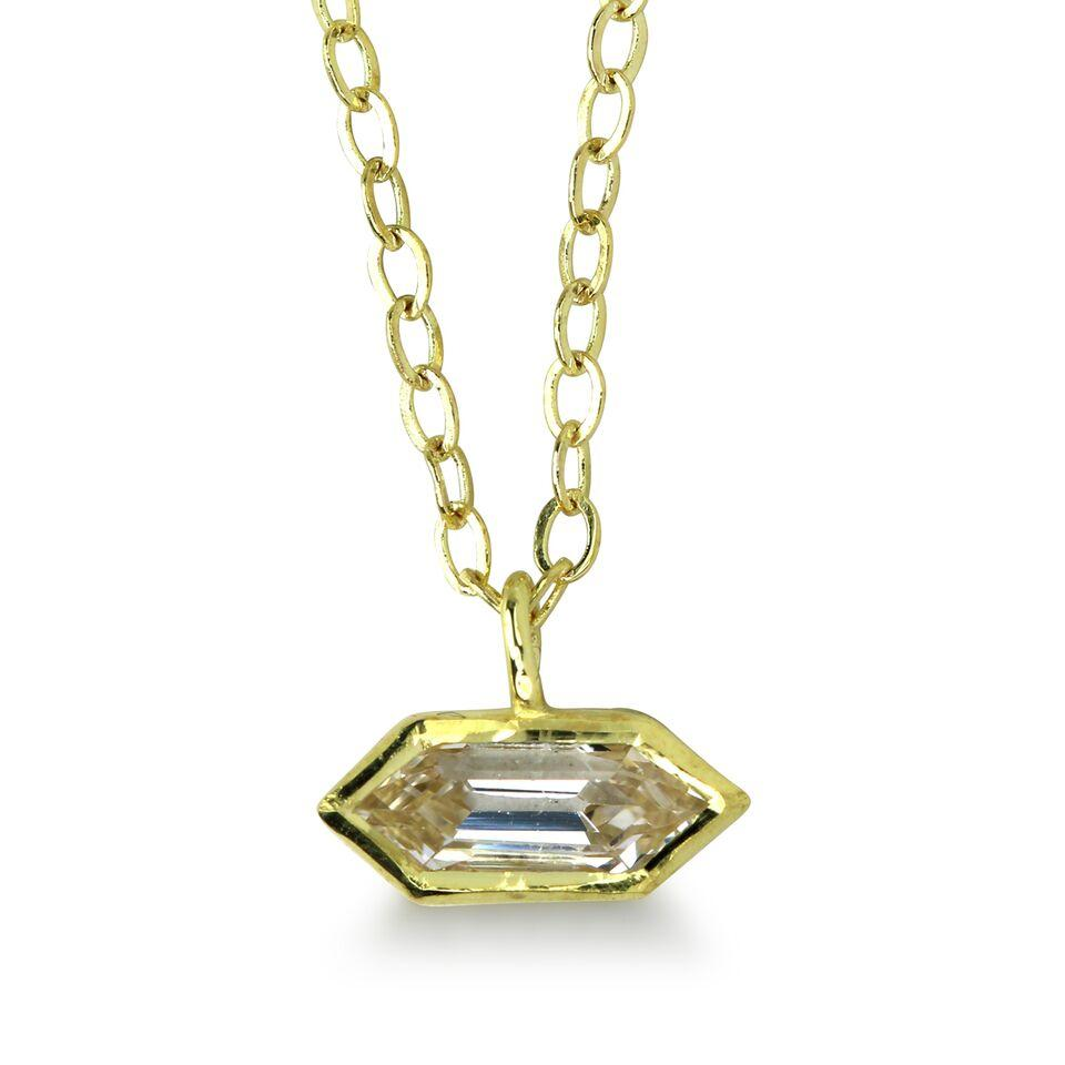 Bezel Set Hexagonal White Sapphire Necklace
