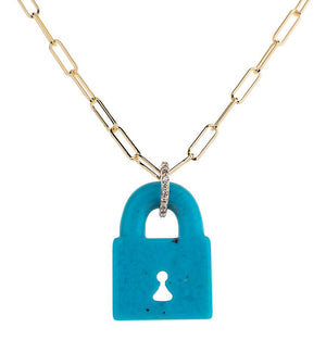 ARIZONA TURQUOISE FIXED PADLOCK NECKLACE