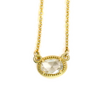 OVAL BEADED BEZEL ROSE CUT NECKLACE