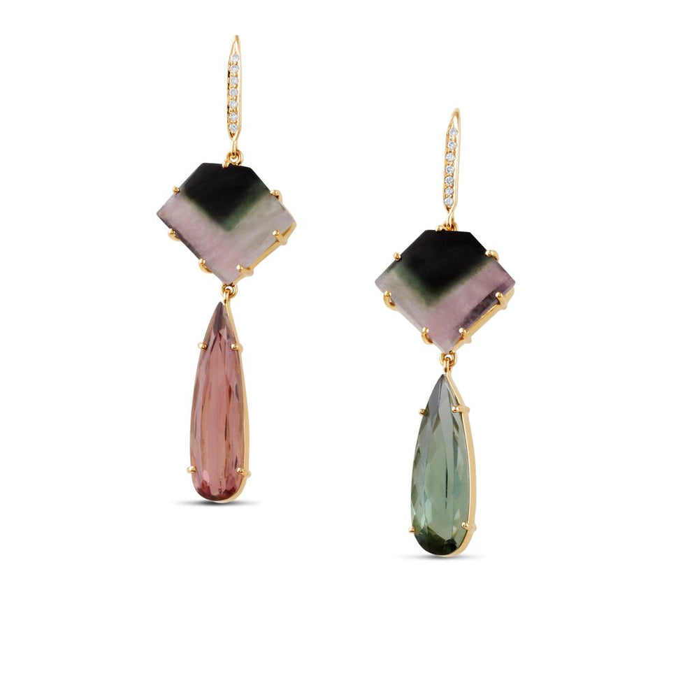 Watermelon Tourmaline Green and Pink Earrings