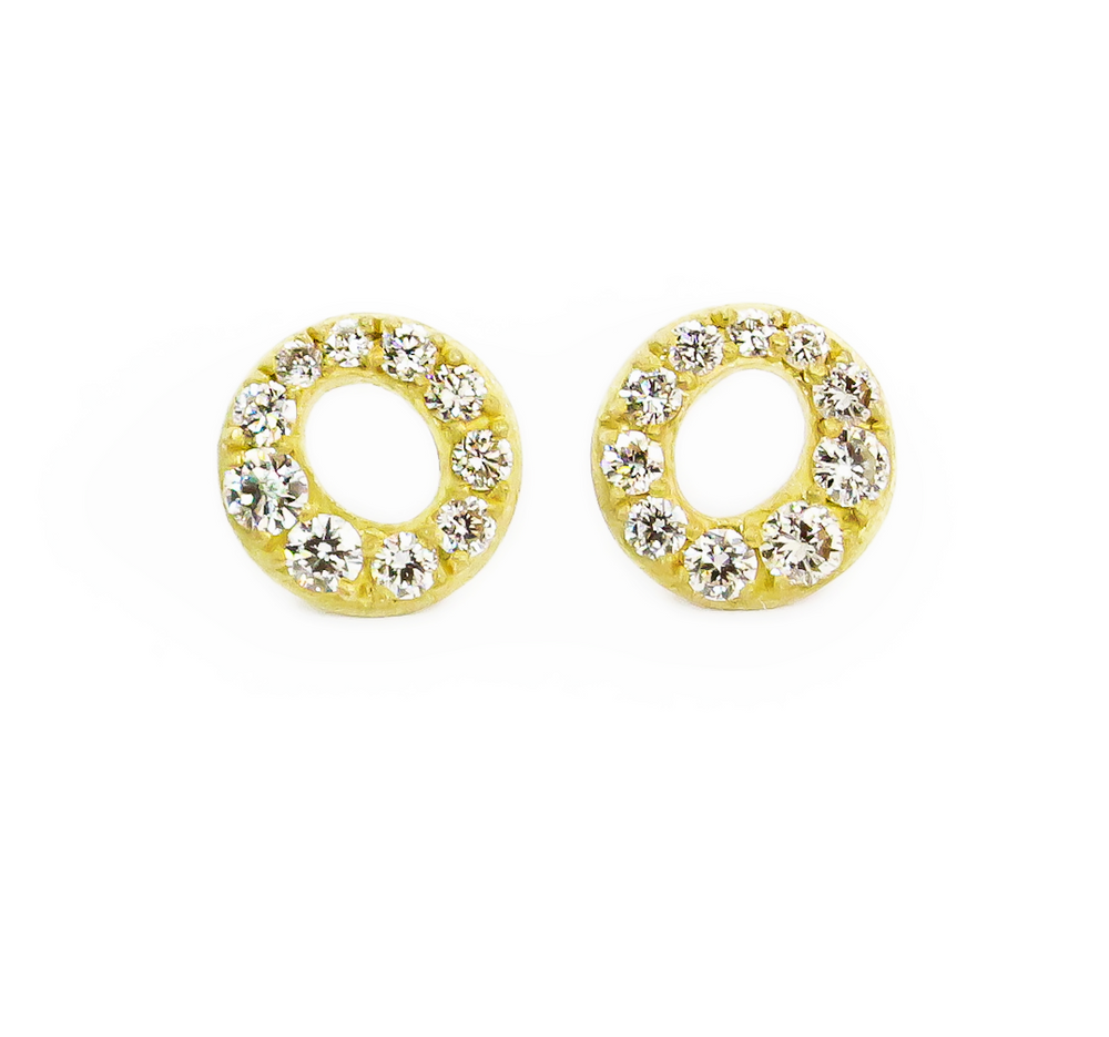 MINI PAVE HALO STUD EARRING