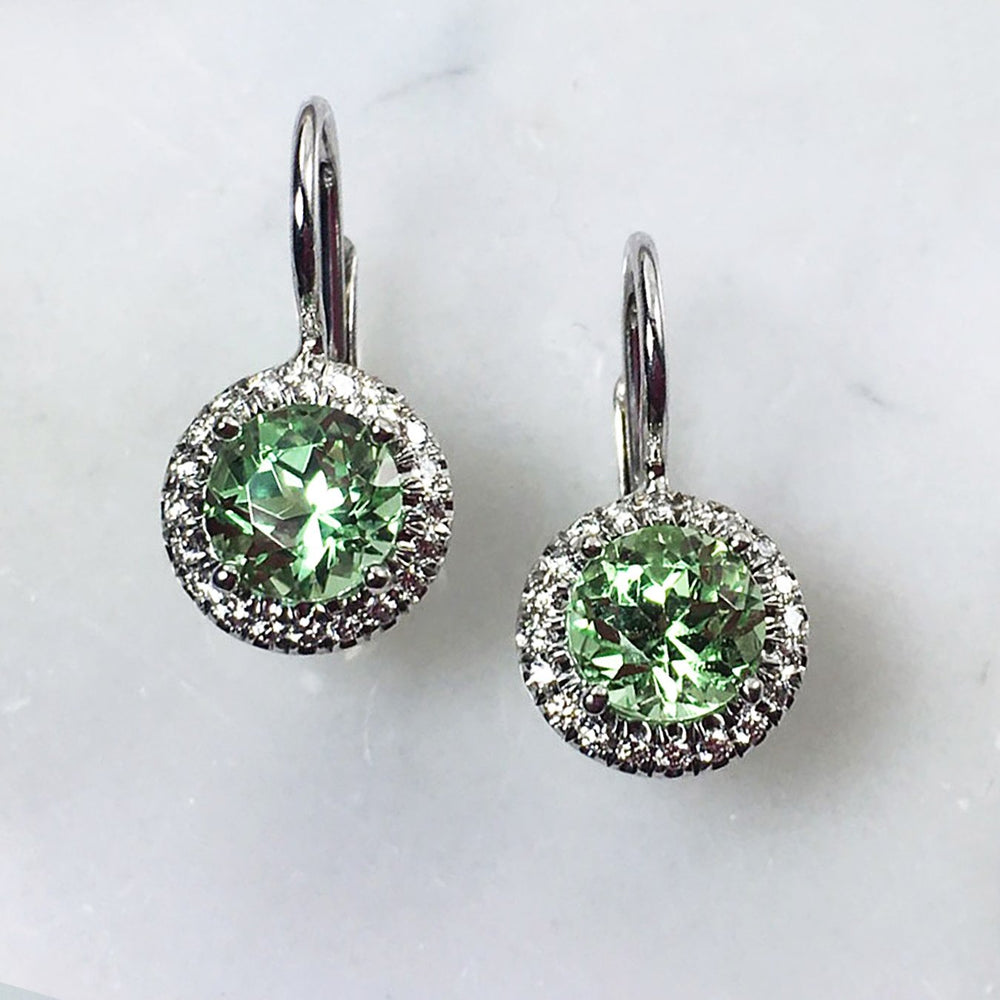 Green Garnet & Diamond Earrings