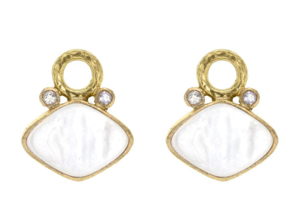 "Crystal Venetian Glass Intaglio ""Rombo"" and Faceted Moonstone Earring Charms for Hoops"