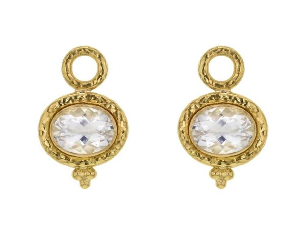 Horizontal Oval Faceted Moonstone With Gold Dot Triad Earring Charms For Hoops