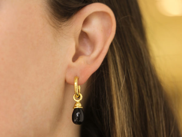 Small Onyx Drop Earring Charms With Acorn Cap