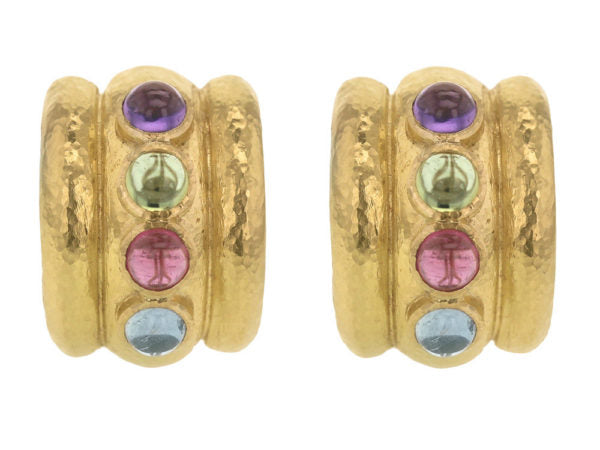 "Pastel Stone Studded ""Tutti Fruitti"" Amalfi Wide Hoop Earrings"