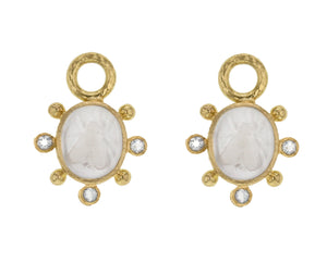 "Crystal Venetian Glass Intaglio ""Mosca"" Earring Charms With Faceted Crystal"