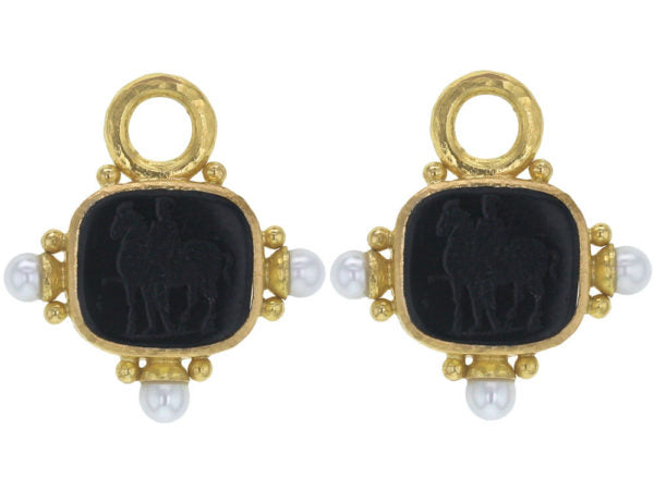 "Blue Venetian Glass Intaglio ""God with Horse"" Earring Charms With Pearls and Side Gold Dots for Hoop"