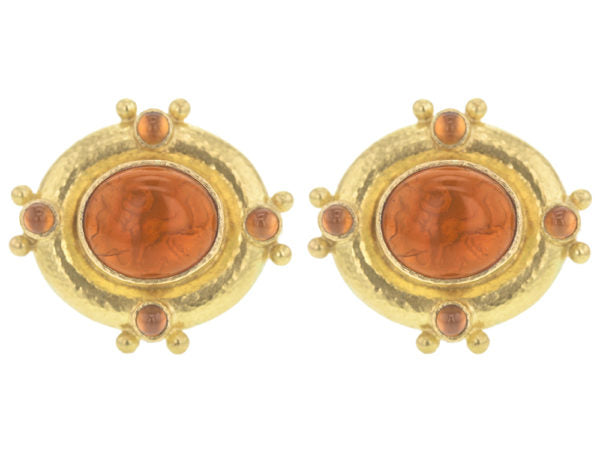 "Venetian Glass Intaglio ""Cab Quadriga"" & Cabochon Pink Toumaline Earrings"