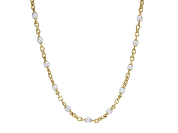 17″ Akoya Pearl and Small Gold Link Necklace with Gold Circle Clasp
