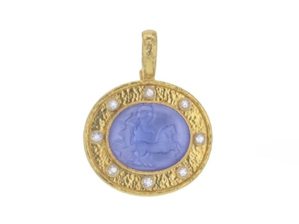 "Cerulean Venetian Glass Intaglio ""Reverse Cabochon Goddess with Chariot"" Pendant With Moonstone"