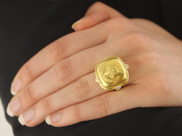 "Gold ""Queen Bee"" Diamond Ring"