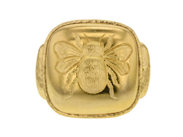 Gold Cushion Fat Bee Ring
