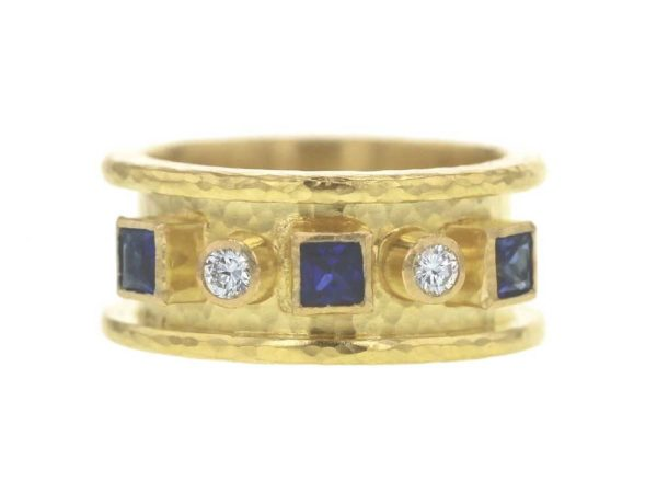Princess-Cut Blue Sapphire And Round Diamond Straight Cigar Band Ring