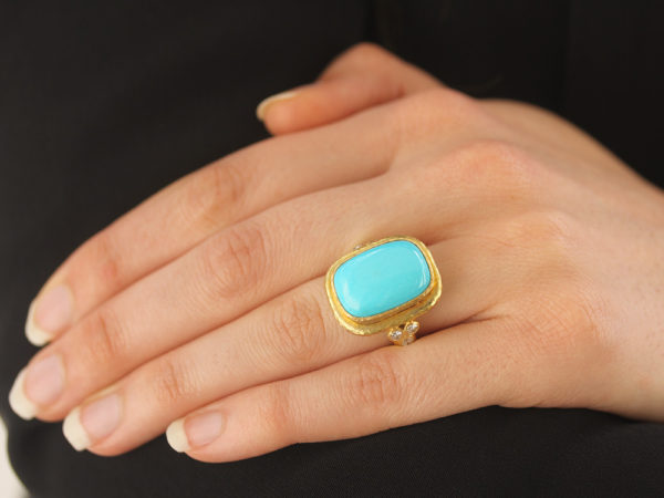 Cushion Cut Cabochon Turquoise Ring with Diamond Triads