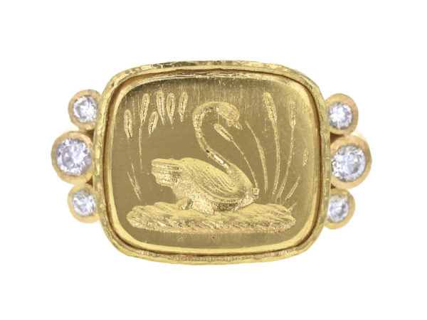 """Swan"" Ring with Side Diamonds"