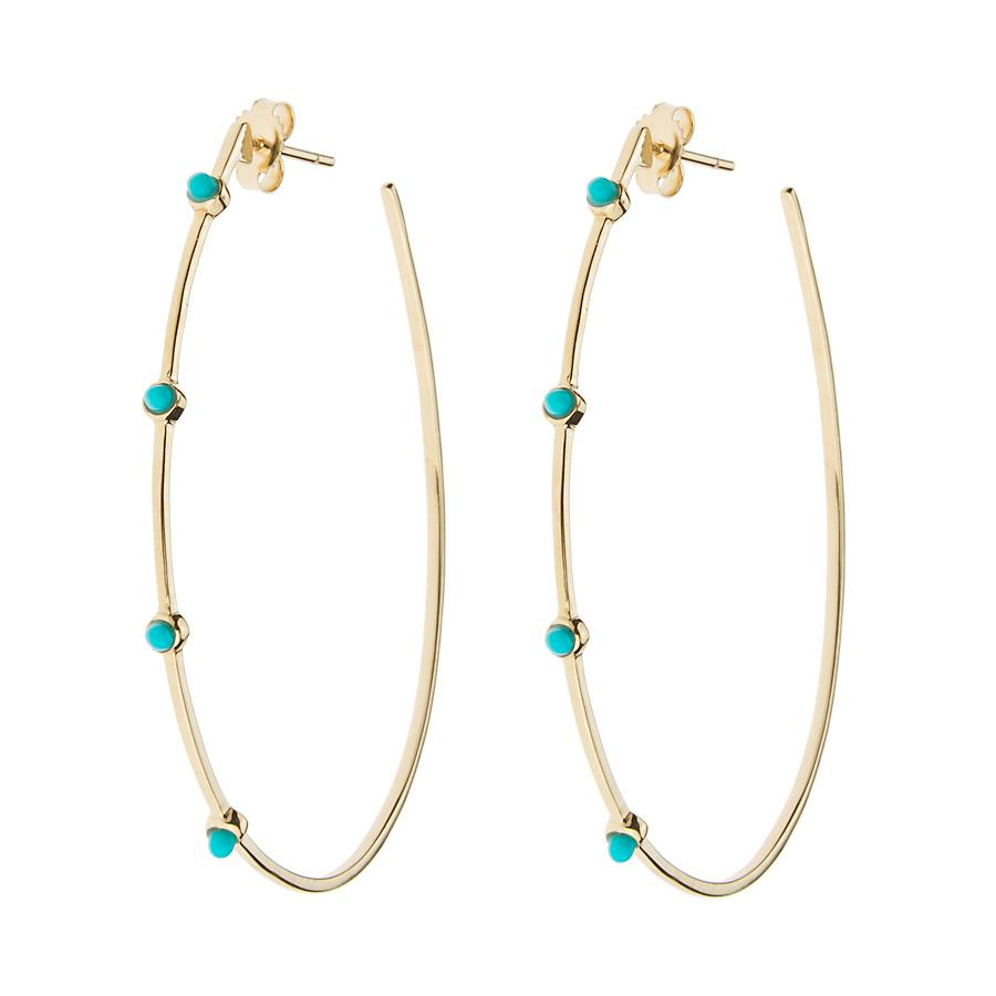 TURQUOISE STONES TEARDROP HOOP EARRINGS