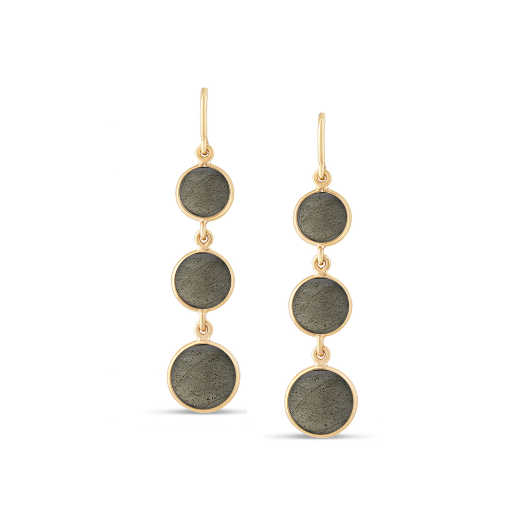 Labradorite Smooth Round Three Drop Earring