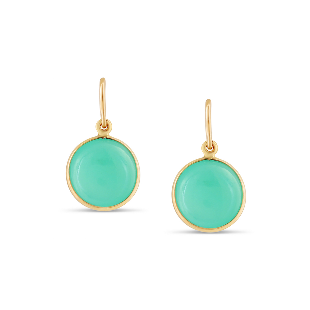 Chrysoprase Simple Round Dangle Earring